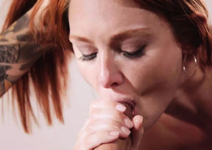 Red-haired youngster prays stepbro to..