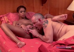 Damsel blacked gal pounded by an elder..