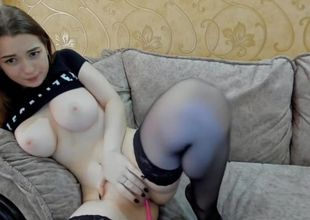 Camgirl pops while displaying off her..