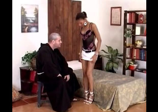 Older priest disrobes little girl..