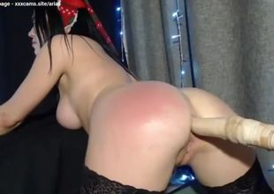 Damsel dark-haired anal invasion bang..